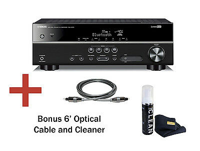 Yamaha RX-V379 HD Receiver HDMI 4K, Bluetooth. Bundle: Optical Cable & Cleaner