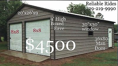 20x26x9 Metal Building Delivered/Installed - Two car garage & storage space