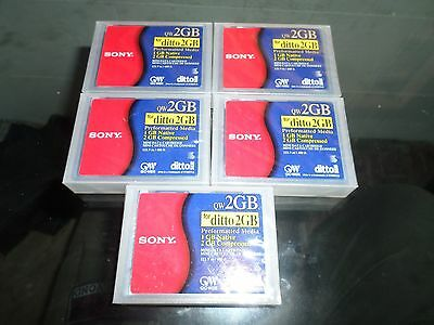 cassette *LOT OF 5* Sony QW2GB Ditto 2GB Mini Data Cartridge/Tape *NEW/SEALED*