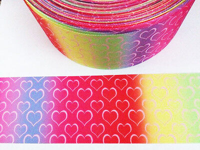 1 Yard ombre heart grosgrain ribbon - 75mm 3 inch wide - ideal for crafts