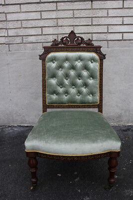 Incredible Inlaid Victorian Carved Vanity, Desk, Side Chair, New Upholstery
