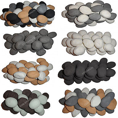 20 Gas Coals Fire Replacement Ceramic Universal Realistic Pebbles New for 2018