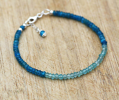 Natural Ocean Green and Neon Blue Apatite Stacking Bracelet Sterling Silver OOAK