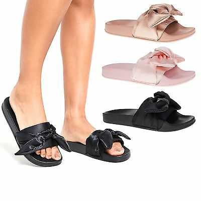 Womens Satin Bow Sliders Ladies Rubber Flats Sandals Slippers Slip On Mules 3-9