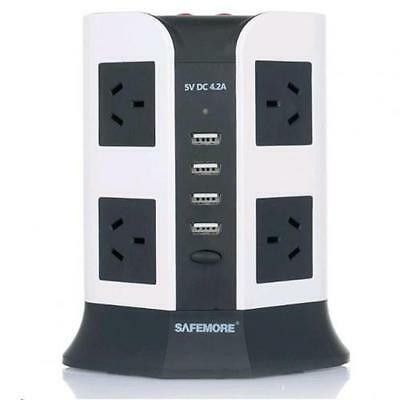 Safemore 2 Level VPS Euro  8 Socket Power Board with 4 USB Charging - White and