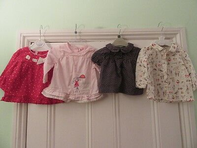 3-6m: 4 pretty tops/blouses -Blue star/Red spot/Animals/Pink - Next/Gap/Monsoon