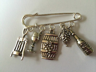 LOVE MY GARDEN GARDENING inspired Silver Tone Kilt Pin Brooch 5 charms gift bag