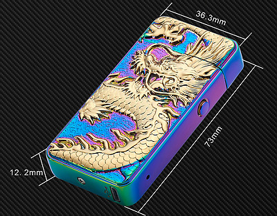 Electric USB Dragon Plated Double Arc Lighter Flameless windproof Rechargeable