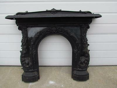 ANTIQUE VICTORIAN AMERICAN CAST IRON FIREPLACE MANTEL signd M.M.Co. and H.TUCKER