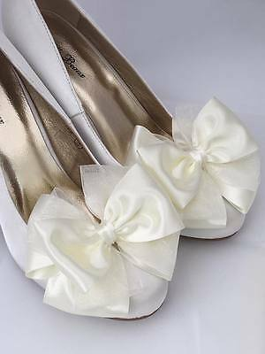 Ivory Bridal Shoes With Bows Satin & Organza Bow Formal Wedding Vintage Court