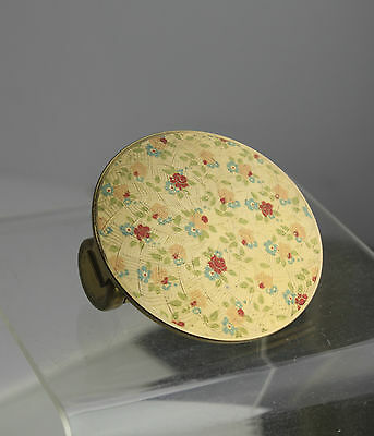 Stratton Lipstick Compact Holder With Flip Mirror Plum Color Floral 1950 Vintage
