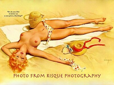 "Nude Woman Removes Bikini 8.5x11"" Photo Print Lovely Alberto Vargas Pin-up Art"
