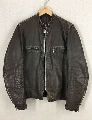 Vintage 60's Brooks Brown Leather Cafe Racer Motorcycle Jacket Sz 38-40