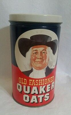 OLD FASHIONED QUAKER OATS Vintage 1982 Limited Edition Metal Tin With Recipe
