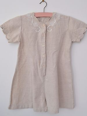 Gorgeous Vintage 80s 90s Girls Linen Playsuit Age 4 approx