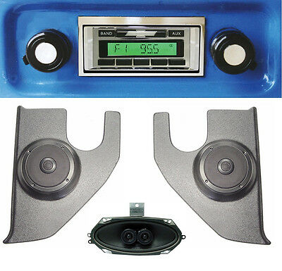 1967-1972 Chevy Truck Radio + Dash Speaker Kick Panels Speakers Aux w/ A/C 230