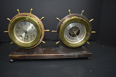 Vintage Brass Chelsea Ships Bell Wind Clock/Barometer/Thermometer Set With Key