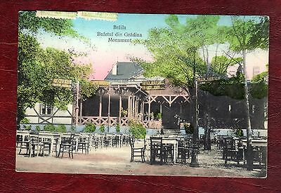 ROMANIA STAMPS-Restaurant in the garden, photo postcard to UK,5b stamps,1909