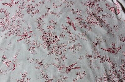 Antique French (1870) Faded Bird & Roses Monotone Cotton/Linen Toile Fabric
