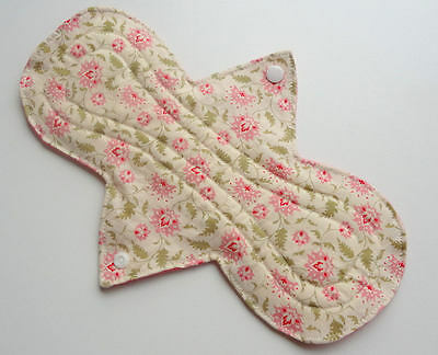 "10"" Pink Floral Heavy Flow Waterproof Reusable Cotton Cloth Sanitary Pad"