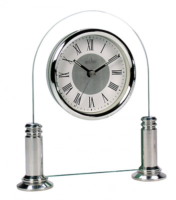 Mantel Clock, Silver/ White. Metal dial with spun chapter ring