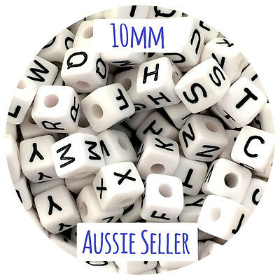 50 mixed 10mm acrylic letter beads alphabet names DIY teething sensory jewellery