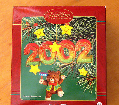 Carlton Cards NEW in Box 2002 Fun In 2002 Bear Stars Christmas Holiday Ornament