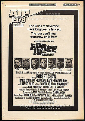 FORCE 10 FROM NAVARONE__Original 1978 Trade AD promo / poster__HARRISON FORD