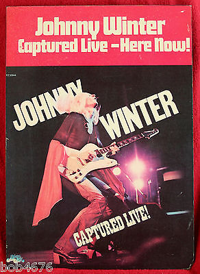 "RARE 1976 JOHNNY WINTER CAPTURED LIVE Wood Record Store Display Poster 12"" x 17"""