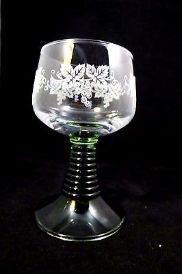 6 German Roemer Glass Wine Goblets With Green Stem And Etched Grapes. EUC!
