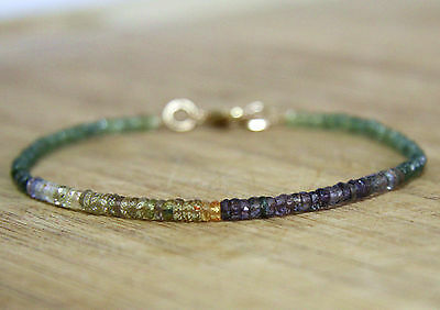 Natural Green Yellow and Purple Sapphire Rondelle Beaded Bangle Bracelet 14K GF