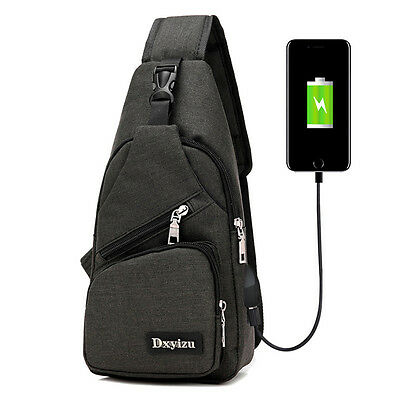 Fashion Men's Polyester Sling Bags Chest Pack Crossbody  Bag with USB Charging