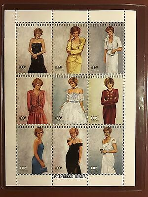Princess Diana Stamps 1997 TOGO Limited edition ROYAL GOWNS PLATE BLOCK + COA