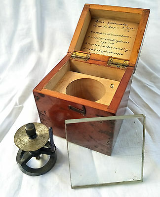 Antique Opticians Aldis Spherometer in Mahogany Case w. Glass Plate W G PYE & CO