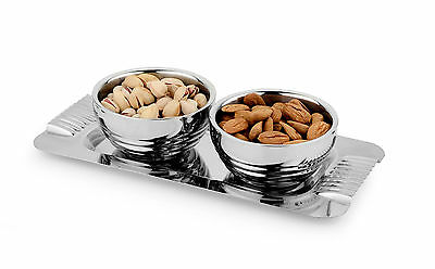 Stainless Steel snacks server set of 2 bowl with tray