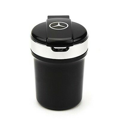 Blue LED Car Auto Portable Travel Cup Black Ashtray Holder With Logo MERCEDES