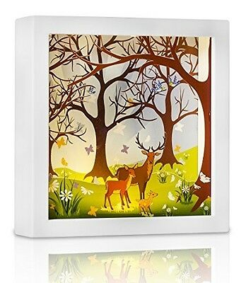Nursery night light Forest Family Story In a Frame Baby Nursery Bookshelfs Wall