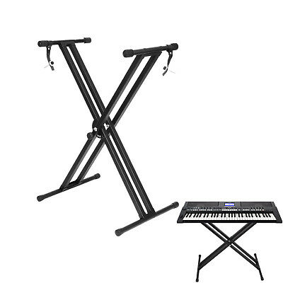 Heavy Duty Double Braced Keyboard Stand X-Frame Height Adjustable V-Piano UK