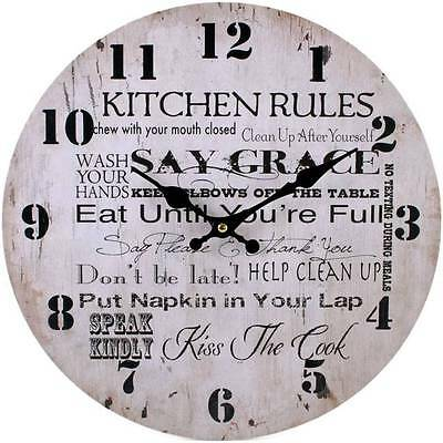 Vintage French Style Shabby Chic Retro Kitchen Rules Wooden Wall Clock