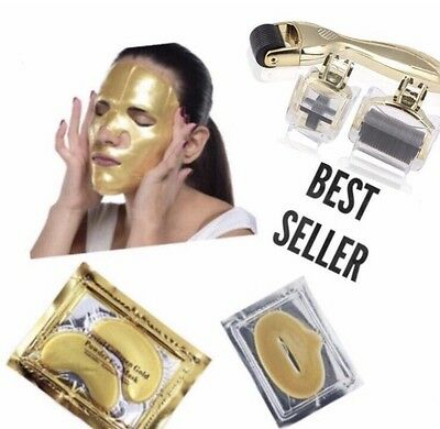 Derma Roller 3 in 1 KIT with 24k Collagen Face Mask,Under Eye Mask & Lip Mask