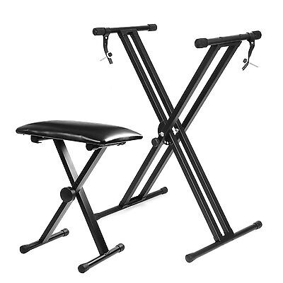 Heavy Duty X-Frame Piano Keyboard Stand With Adjustable Height Padded Stool Seat