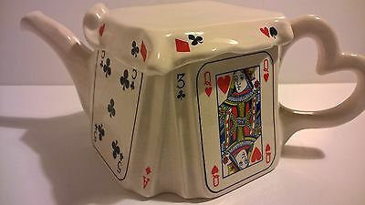 Vintage 1989 Alice in Wonderland decorative ceramic playing card teapot England