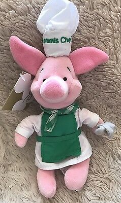 "NWT Disney Chef Piglet Winnie The Pooh Beanie Soft Toy 8"" Commis Chef Exclusive"