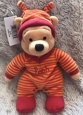 """NWT Disney Pooh Romper Winnie The Pooh 8"""" Beanie Soft Toy Store Exclusive"""
