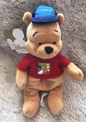 "NWT Disney London Pooh Winnie The Pooh 8"" Beanie Soft Toy Store Exclusive"