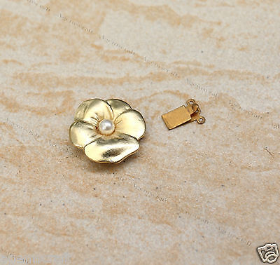 Vintage Flower Gold tone casting 3 strands push box clasp fastener connector