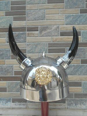 Viking Horne Armour Helmet  Medieval Armour Reenactment SCA GREEK Helmet