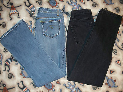 Lot of 2 Women's Jeans Size 8 Wrangler BLACK & Faded Glory BLUE Boot Cut