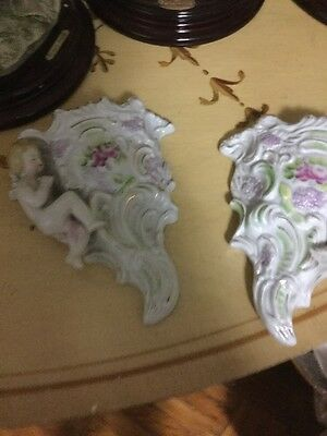 Antique Pair Porcelain Cherub Wall Pockets, Vases, Lilacs, Roses Flowers, Gold