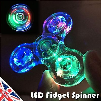 Tri LED Fidget Spinners Glow Finger Hand EDC Metal Stress Relief Gyro Toy ADHD
